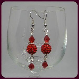 Fancy Red Dangle Earrings